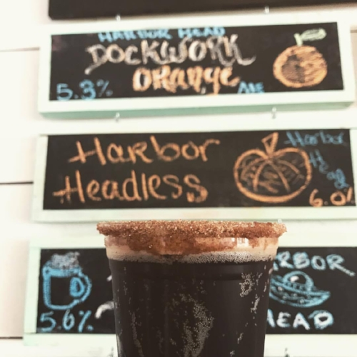 The Harbor Headless Pumpkin Brew, made right in Northport, is available on tap at Whales Tale. Photo Courtesy of Facebook/Whales Tale