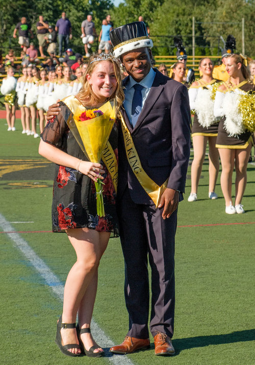 Homecoming queen and king Lauren Sabatino and DonoVaughn Tulloch are pictured during halftime.     Photo/Bob Williams/Fast Focus Photography