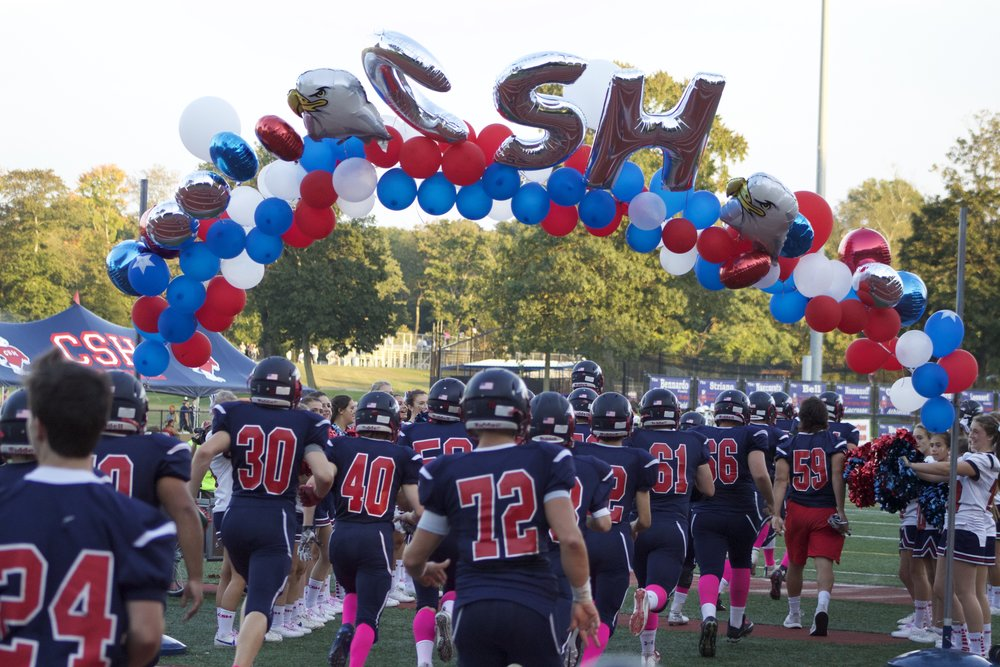 The Cold Spring Harbor football team opens up its homecoming game against Carle Place-Wheatley on Friday.   Long Islander News Photo/Janee Law