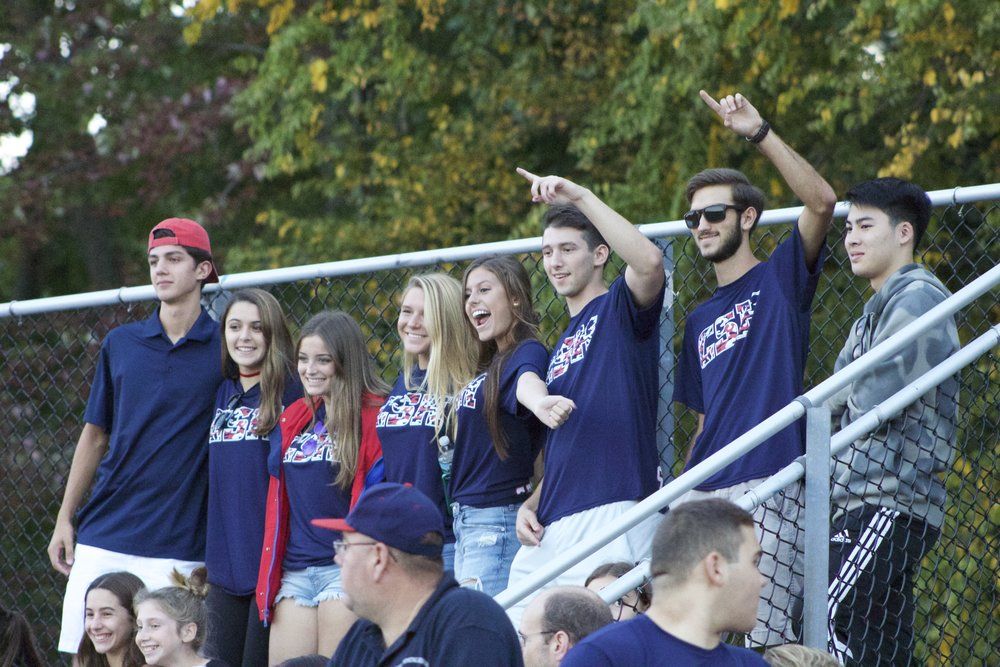 Cold Spring Harbor seniors showed their excitement at Friday's homecoming game.   Long Islander News Photo/Janee Law