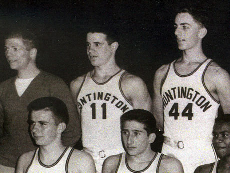 """Hon. W. Gerard """"Jerry"""" Asher, center, during his junior year campaign with Huntington's basketball team, which ended with the Blue Devils as Suffolk champs."""