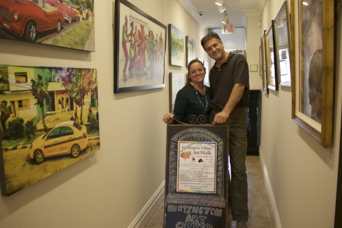Wendy Curtis and Tom Northrop, co-owners of the Huntington Art Center, are gearing up for the fourth Huntington Village Art Walk this Sunday.   Long Islander News Photo/Janee Law