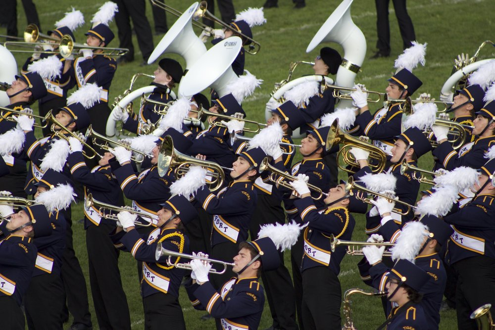 The Northport Tigers Marching Band delivered an entertaining performance during halftime.   Long Islander News Photo/Janee Law