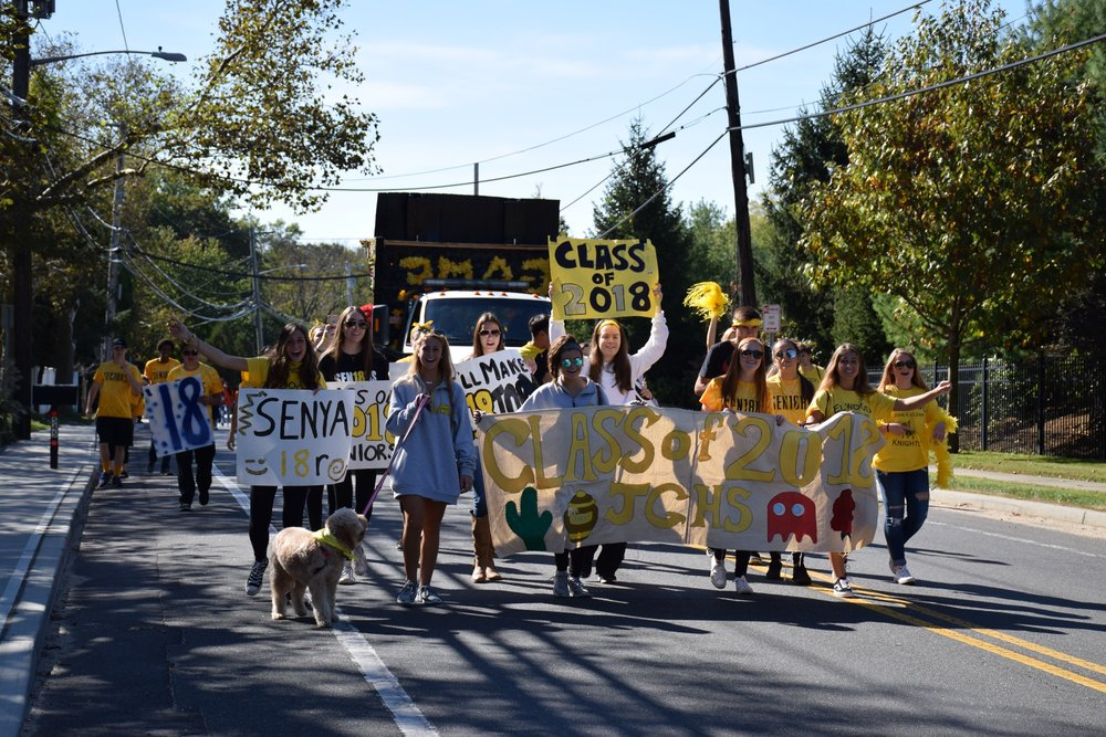 Elwood-John Glenn High School Class of 2018 showed off their school spirit and marched in the homecoming parade.   Photo Courtesy of Elwood Union Free School District