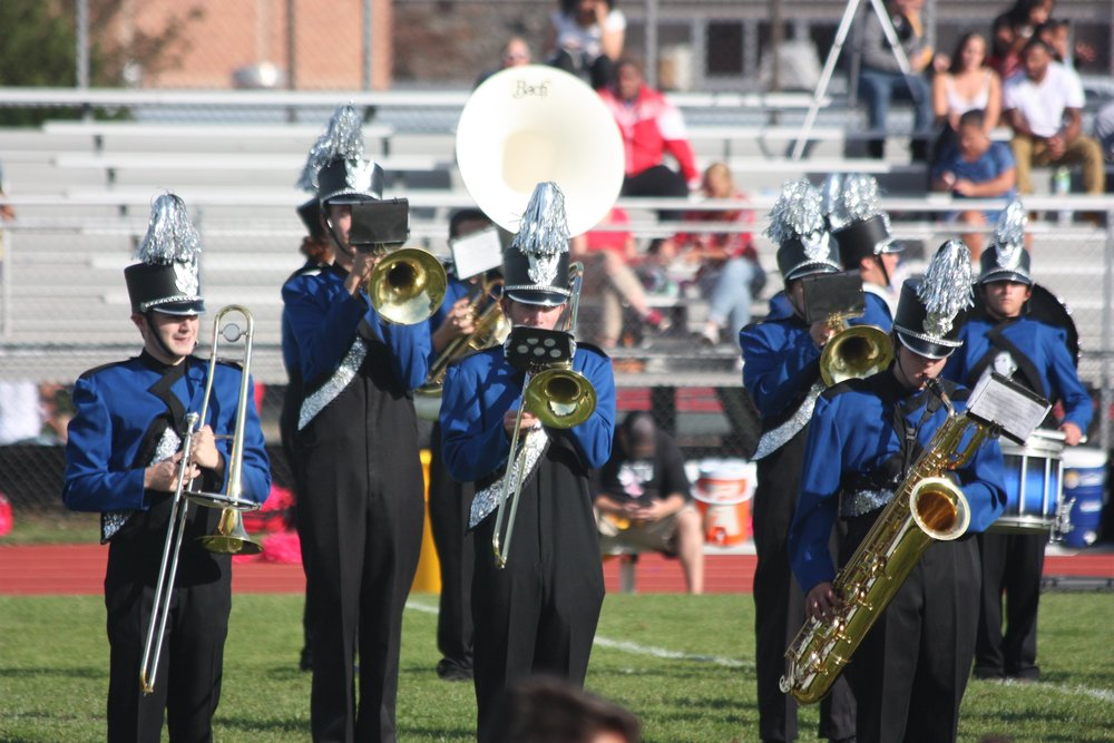 The Elwood-John H. Glenn Marching Band performed a variety of popular songs during its homecoming halftime performance.   Photo Courtesy of Elwood Union Free School District