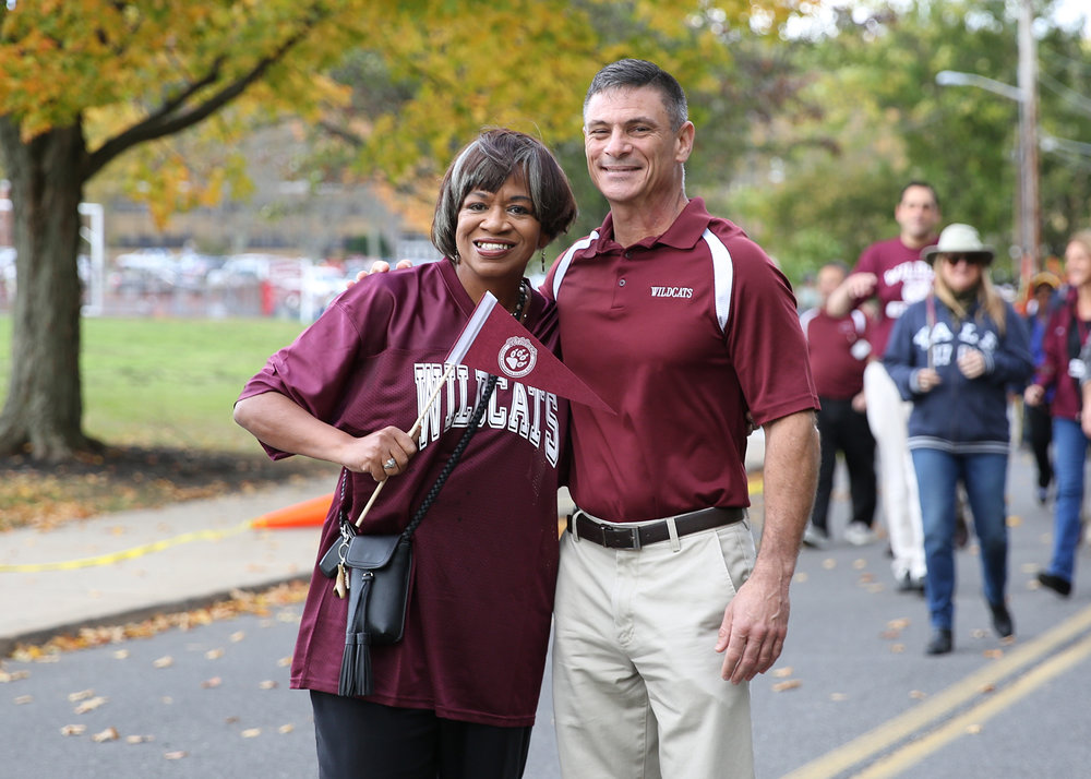 South Huntington School District Deputy Superintendent Jacqueline Harris and Superintendent David Bennardo during Saturday's homecoming parade.   Photo by Steve Bartholomew