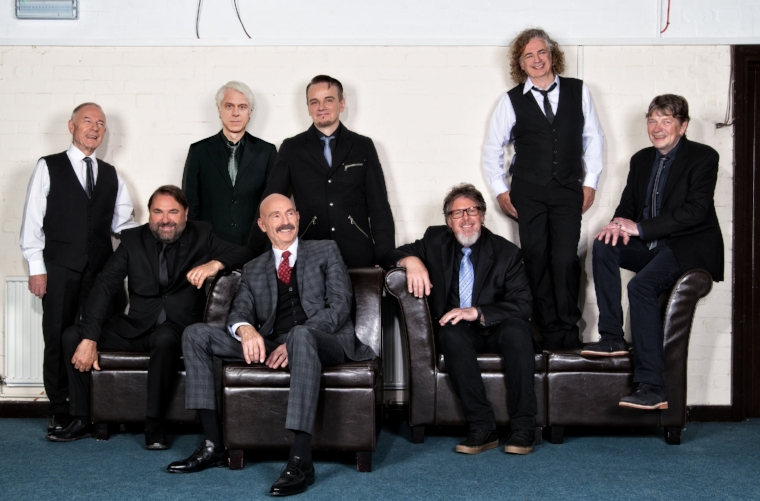 The newest configuration of King Crimson features, from left, Robert Fripp, Jeremy Stacey, Chris Gibson, Tony Levin, Gavin Harrison, Pat Mastelotto, Jakko Jakszyk and Mel Collins.   Photo by Dean Stocking