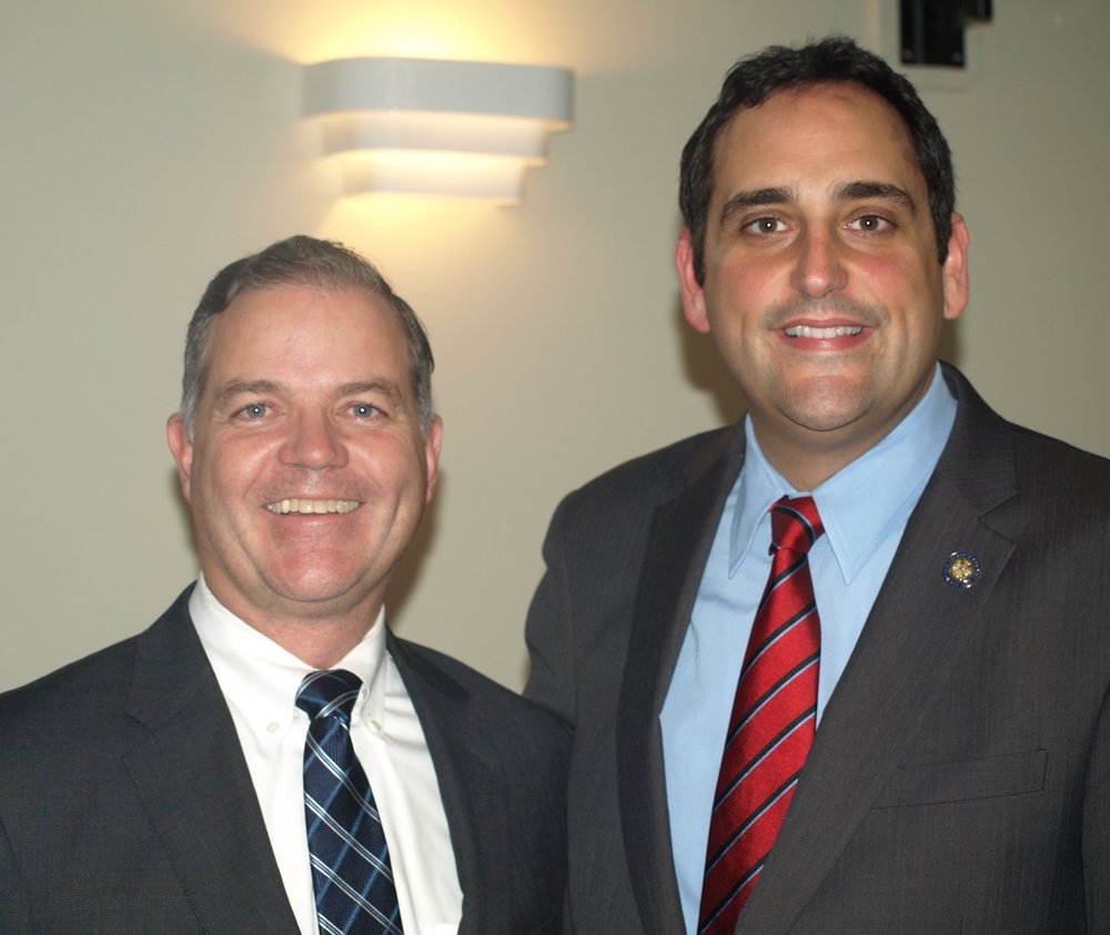 State Assemblyman Chad Lupinacci, right, has won the Huntington town supervisor election, according to the Suffolk Board of Elections. He's pictured with running mate Ed Smyth, who holds a slim and contestable lead in the four-way race for two Huntington town council seats.   Long Islander News Photo/Connor Beach