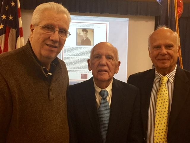 Senator Carl Marcellino, George Kunz, and son Steve Kunz at the Nov. 8 ceremony, where George Kunz received his high school diploma from the South Huntington School District.   Photo by Steve Bartholomew