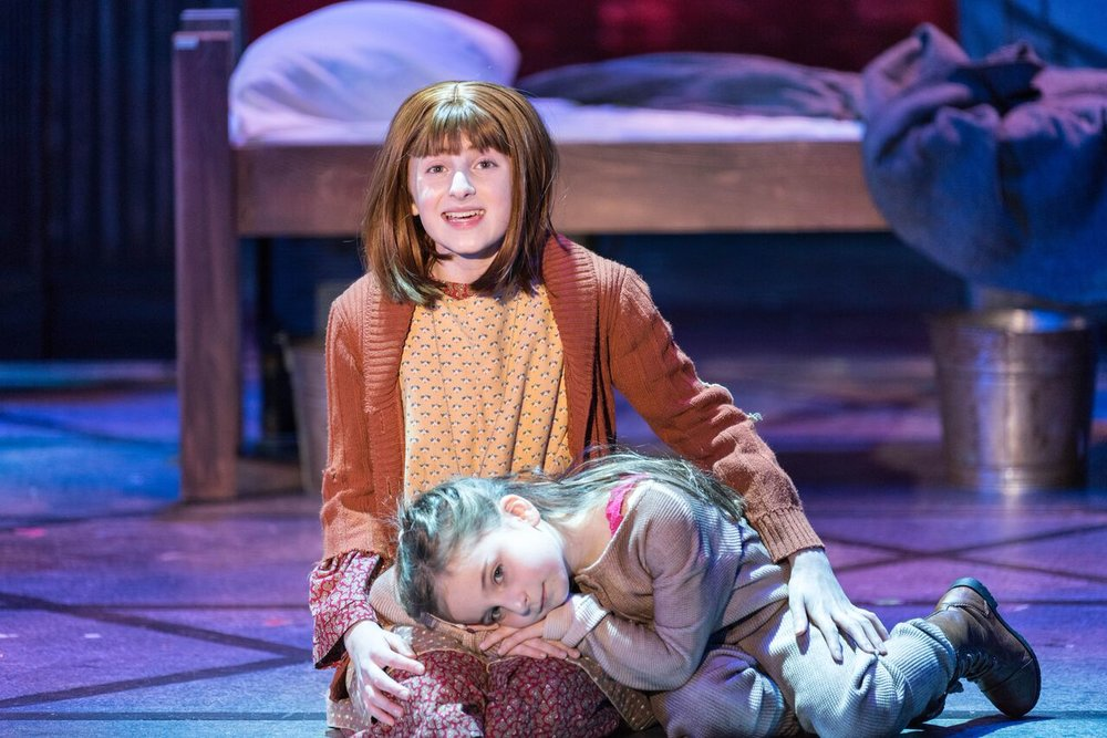 """Presley Ryan (as Annie) and Sophia Lily Tamburo (as Molly) open John Engeman Theater's production of """"Annie"""" with the number """"Maybe.""""  Photo by Michael DeCristofaro"""