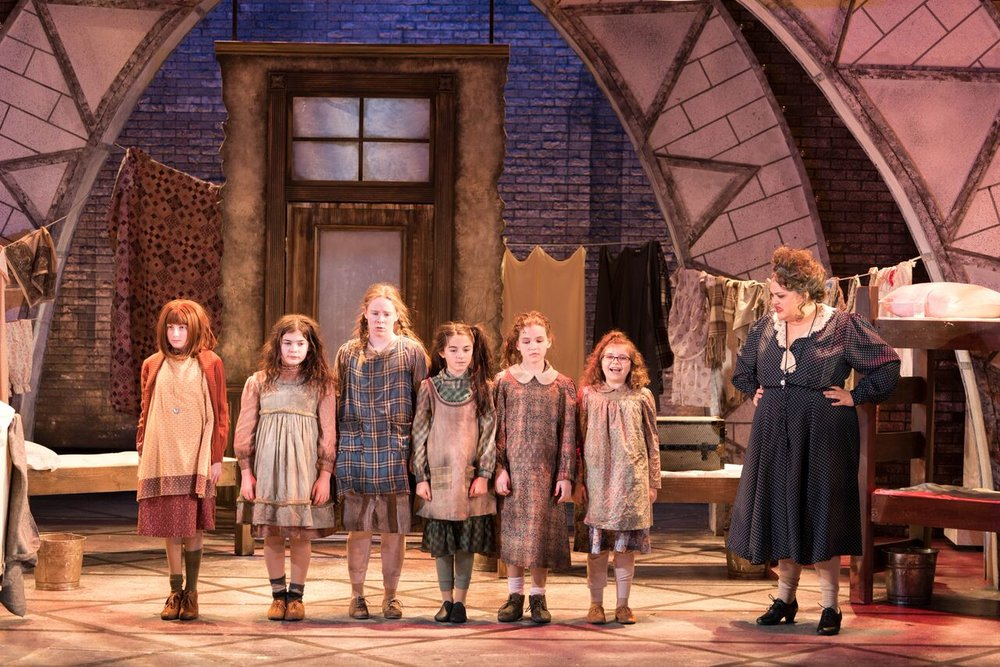 """Part of the high-energy and funny cast of """"Annie,"""" from left,Presley Ryan (as Annie), Meaghan McInnes (as Duffy), Meaghan Maher (as Pepper), Emma Sordi (as Kate), Cassandra LaRocco (as July), Cordelia Comando (as Tessie) and Lynn Andrews (as Miss Hannigan).  Photo by Michael DeCristofaro"""