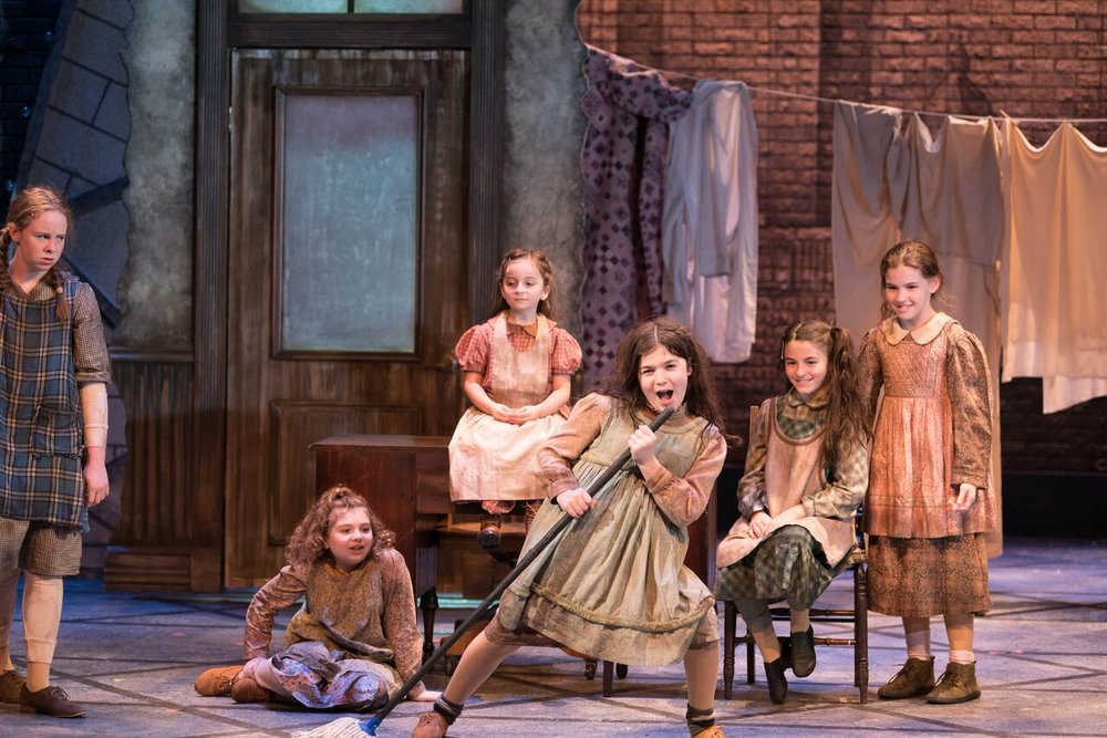 """Cordelia Comando (as Tessie), Sophia Lily Tamburo (as Molly), Meaghan McInnes (as Duffy), Emma Sordi (as Kate) and Cassandra LaRocco (as July) making up the entertaining and sassy cast of orphaned girls in """"Annie.""""  Photo by Michael DeCristofaro"""