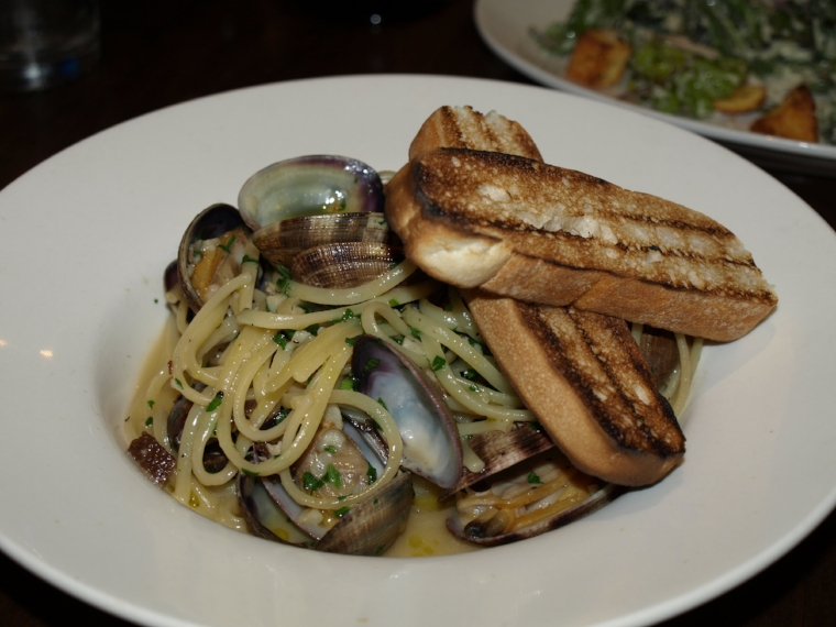 The Classic Linguine and Clams ($22) features manila clams served with guanciale, garlic, white wine, parsley and rustic bread over linguine.   Long Islander News Photo/Connor Beach