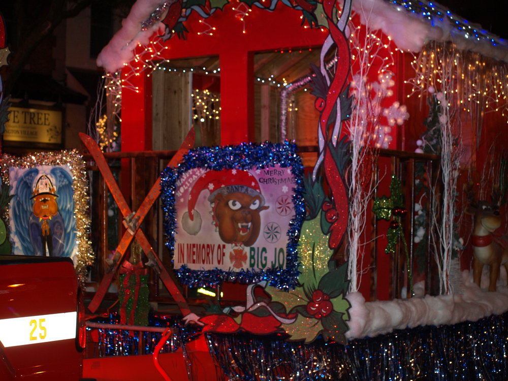 Huntington Manor Fire Department's impressive float in the Huntington Holiday Parade.   Long Islander News Photo/Connor Beach