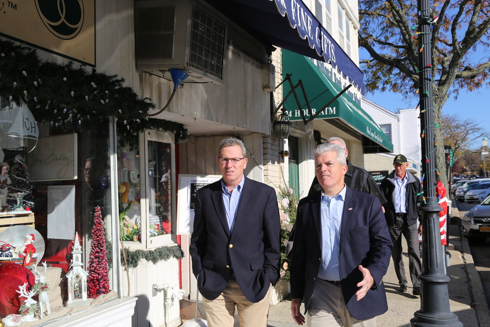 Huntington Councilman Mark Cuthbertson and Suffolk County Executive Steve Bellone walked Northport Village on Small Business Saturday   Photo Courtesy of Office of the Suffolk County Executive