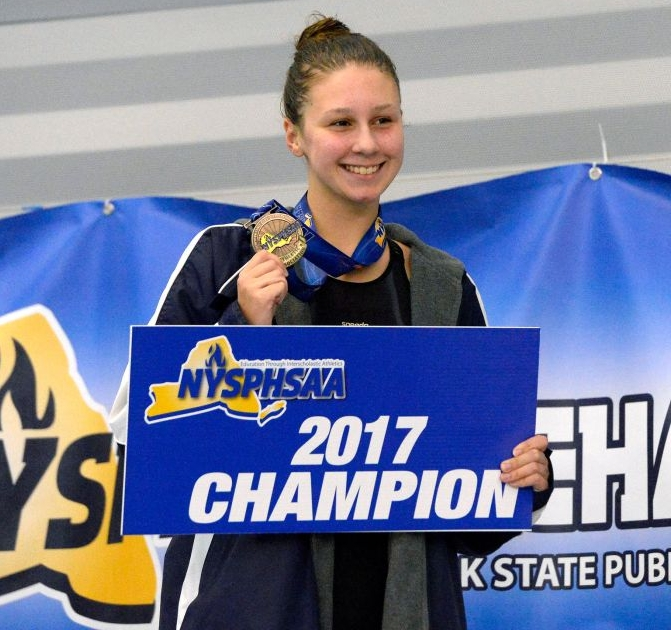 Northport High School varsity swimmer Chloe Stepanek won two state titles at the New York State Championships held at Ithaca College on Nov. 17-18. Photo Courtesy of Northport-East Northport School District