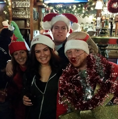 One of the many groups that hit Huntington village during last year's annual holiday bar crawl. This year's crawl is Saturday, Dec. 16.   Photo Courtesy of Long Island Social Events