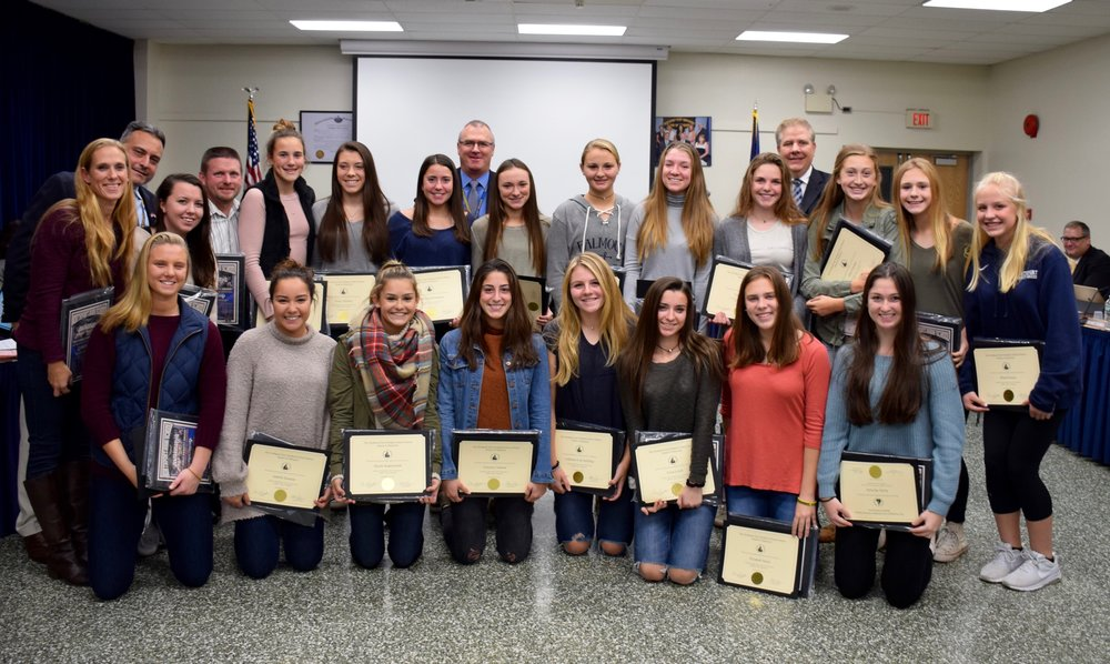 Northport-East Northport's girls varsity soccer team is recognized for their Suffolk County championship win by the school board on Nov. 29 .    Photo/Northport-East Northport School District