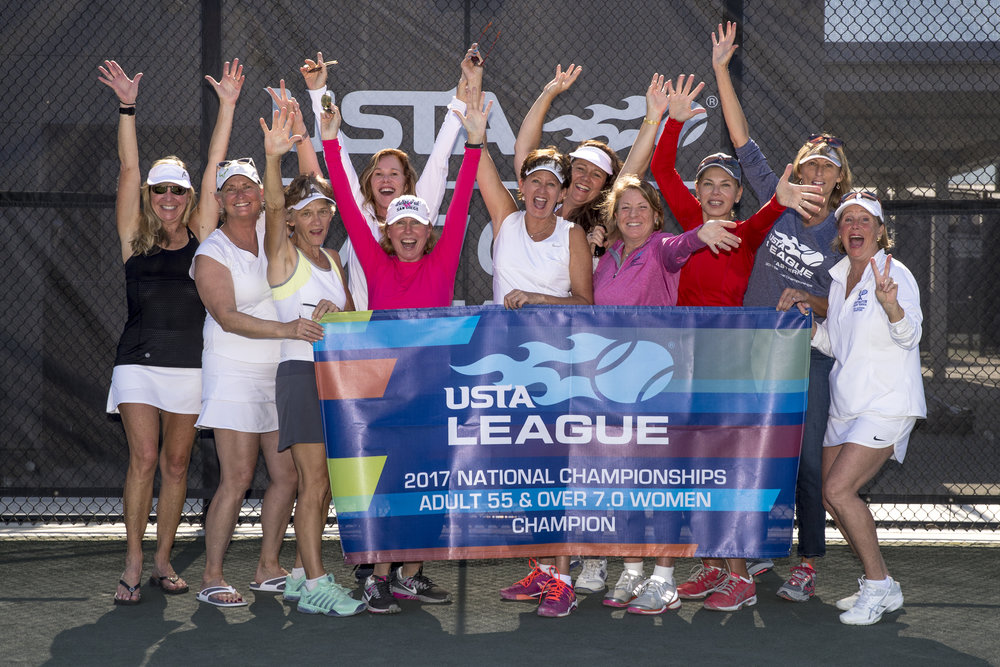 The national championship-winning nad Huntington-based women's 55 and older tennis team, from left: Stacey Margey, Nancy Ambrosio, Betsy Radecki, Kathy Nicolette, Jackie Iversen, Andrea Woods, Linda Moskowitz, Anne Johnston, Jackie Heise, Coleen Gussaroff and Cathleen Callahan.   Photo courtesy of Andrea Woods