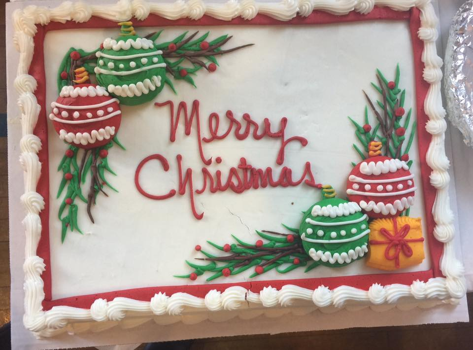 A cake served at last year's free Christmas dinner and gala at Gloria Dei Evangelical Lutheran Church.