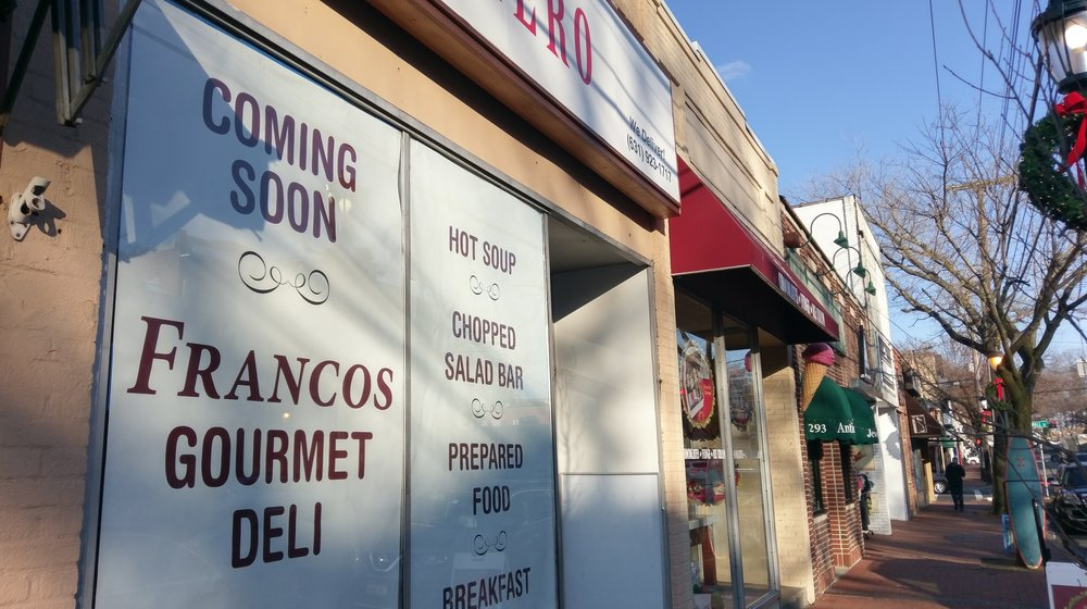 A sign for Francos Gourmet Deli has been posted on the 295 Main St. storefront in Huntington village.     Long Islander News photo/Andrew Wroblewski
