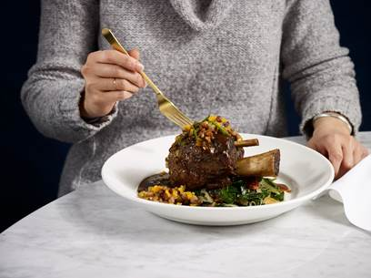 The Coffee-Braised Pork Shank, one of the offerings on Del Frisco's Grille's prix-fixe menu this holiday season.