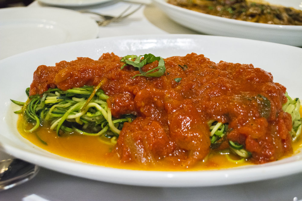 The Zucchini Linguine ($18/$28) features fresh zucchini shaped to look like pasta, and served with filetto di pomodoro sauce   Long Islander News photos/Barbara Fiore