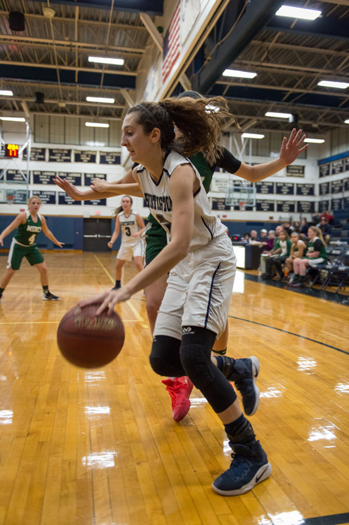 Huntington senior Alexandra Heuwetter set a new Huntington girls basketball program record on Dec. 14, when she made seven three-pointers. Photo/Darin Reed