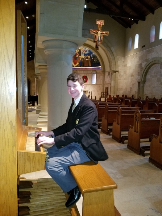 Matthew Luca was overwhelmed with joy last week when he learned that he was named College of The Holy Cross Organ Scholar of the Class of 2022.   Photo provided by St. Anthony's High School