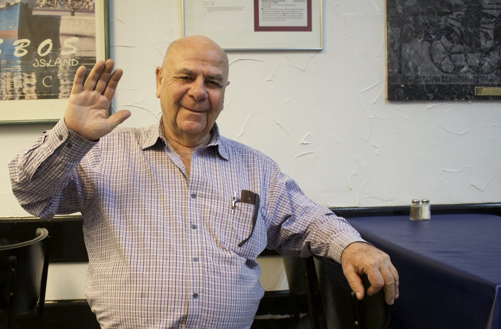 Steve Soulellis, longtime owner of the Mediterranean Snack Bar, is set to close the New York Avenue eatery on Saturday after nearly 43 years of business.   Long Islander News photo/Janee Law
