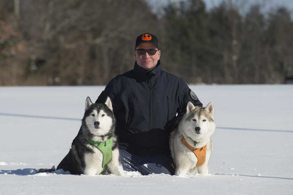 Paul Kearney with his and dogs Tucker, left, and Summer.    Photo provided by Paul Kearney