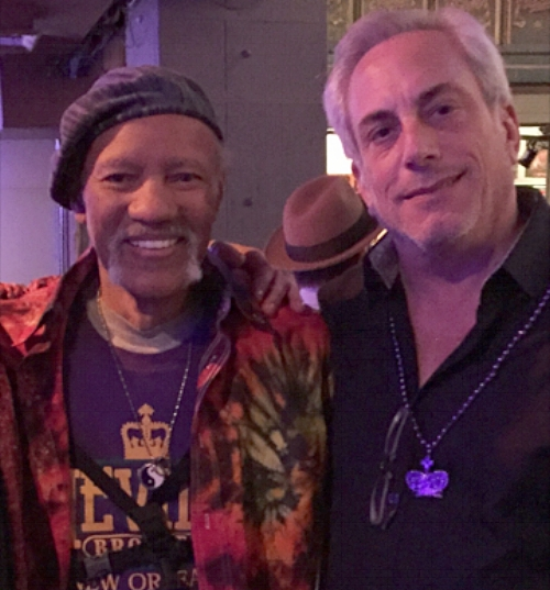 Michael Blueweiss, right, with Charles Neville, honoree of the first JazzNJam concert to benefit the Coltrane Home in Dix Hills and prostate cancer awareness.   Photo courtesy of Michael Blueweiss