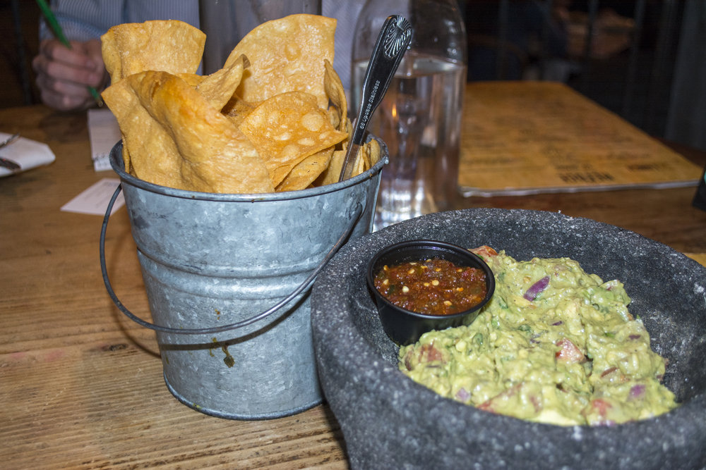 The Guacamole ($12.95) is served with jalapeno, tomato, cilantro, onion, lime and a large side of chips.   Long Islander News photos/Barbara Fiore