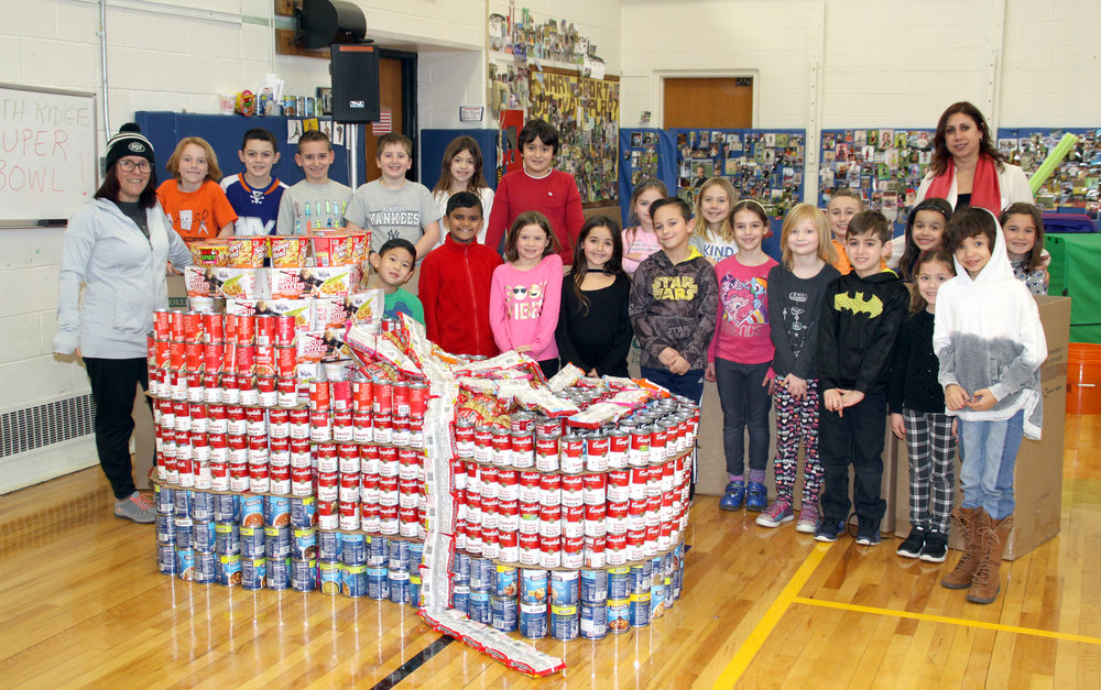 Students of North Ridge Primary School in Commack collected a whopping 7,188 cans and bags of soup last month, ahead of last Sunday's big game, to donate to Long Island Cares.   Photo/Commack School District