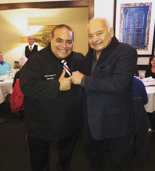 "Former ""Sopranos"" star Joe Gannascoli, left, will be cooking his famous spaghetti carbonara tableside at Matteo's in Huntington Station this Friday. He's pictured with Burt Young, aka Paulie of the ""Rocky"" film series.    Photo/Facebook/Matteo's"