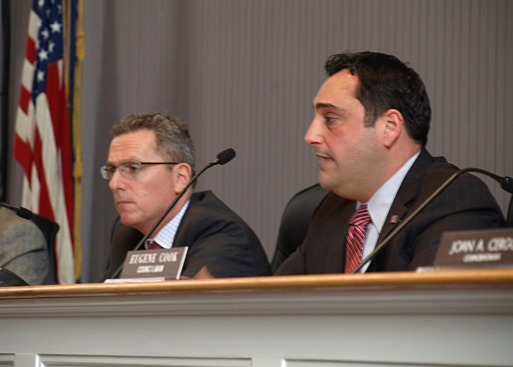Democrats Councilman Mark Cuthbertson, left, and Councilwoman Joan Cergol, not pictured, took issue with Republican Supervisor Chad Lupinacci, right, at Tuesday's board meeting over new appointees to various town positions. Long Islander News photo/Connor Beach