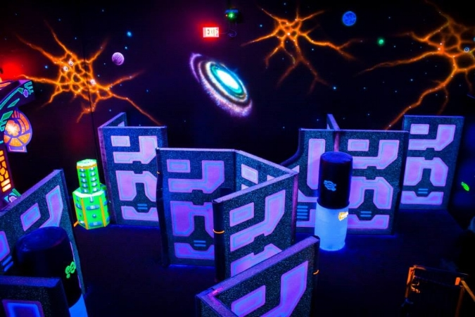 Kids can run wild in the glow in the dark laser tag maze at Lazerland Long Island.