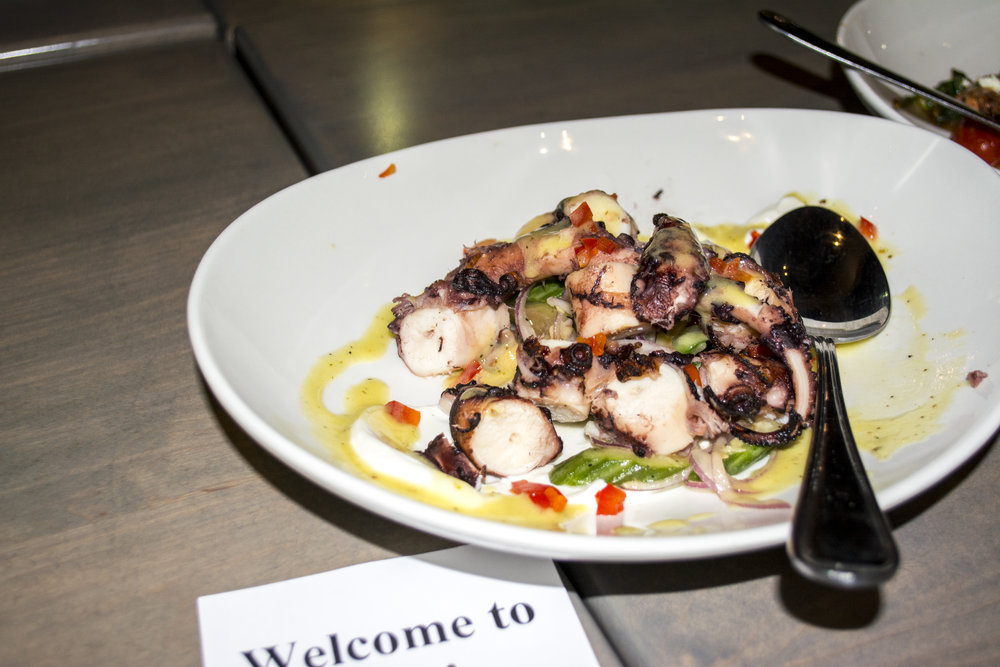 The grilled Octopus ($19) at Ara is served with cucumber, yogurt and ladolemono.   Long Islander News photos/Connor Beach