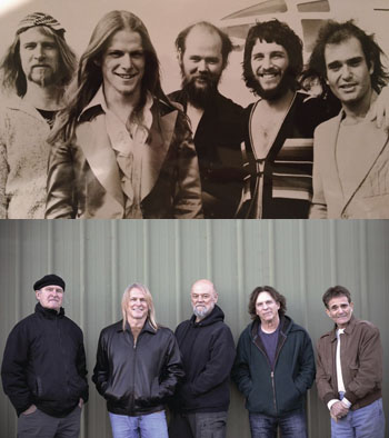Top, the original Dixie Dregs members, from left, Steve Davidowski, Steve Morse, Andy West, Rod Morgenstein and Allen Sloan following the release of their first commercial album in the late 1970s.   Bottom, Dixie Dregs members, from left, Steve Davidowski, Steve Morse, Andy West, Rod Morgensteinand Allen Sloan before launching their 2018 reunion tour.  Photos/Facebook/TheDixieDregs