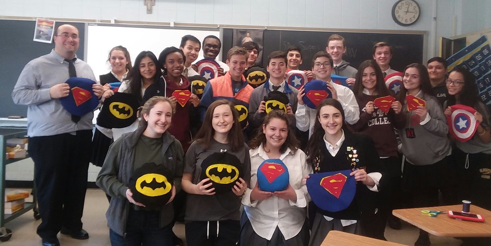 The St. Anthony's High School Supers Club has been bringing smiles to children within hospitals by creating superhero-themed pillows.   Photos/St. Anthony's High School