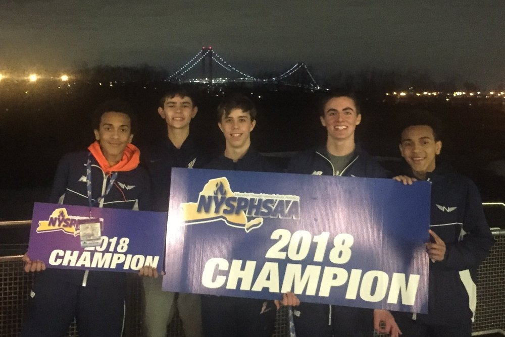 The Northport boys track & field team pictured at the NYSPHSAA Indoor Track & Field Championships. Pictured from left to right, Isaiah Claiborne, Sean Ryan, Dan O'Connor, Thomas Fodor and Elijah Claiborne.    Photos provided by Jason Strom