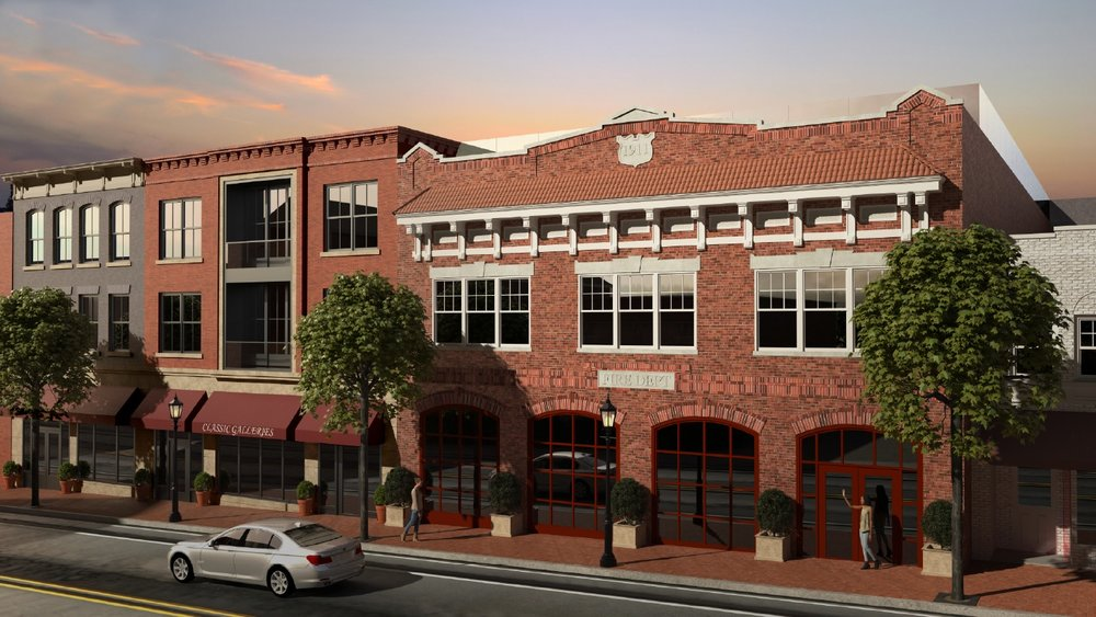A rendering depicts a Main Street portion of a mixed-use development with 84 luxury apartments proposed for Huntington village. Developers have promised to preserve and restore the facade of the 1911 Huntington Firehouse, depicted above, as part of their proposal.  R endering courtesy of Margolin and Margolin