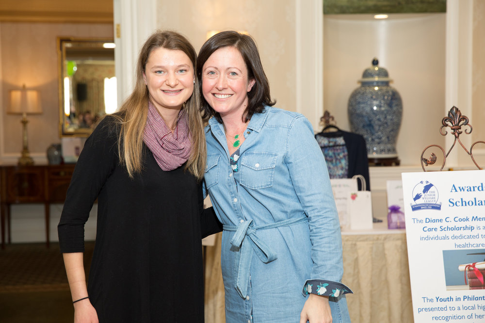 Award chair Andrea Boccard, right, presents this year's Youth in Philanthropy award to Huntington High School senior Niamh Condon.