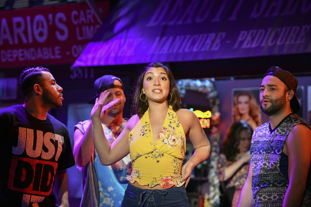 "Jovany Ramirez (ensemble), Danny Lopez (Graffiti Pete) and Chiara Trentalange (Vanessa) in the John W. Engeman Theater's vibrant production of ""In The Heights.""   Photos by Michael DeCristofaro"