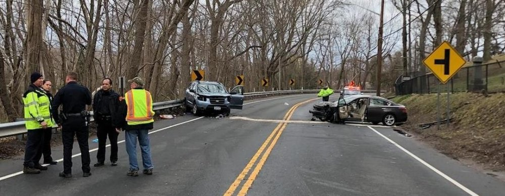The crash scene on Route 25A, east of Harbor Circle, in Centerport on Friday.   (Photo/Centerport FD)