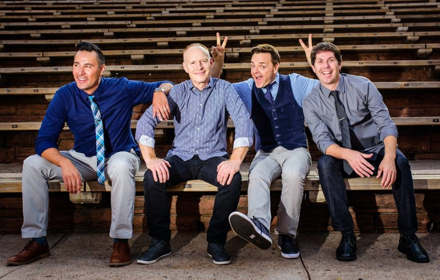 The Piano Guys, from left, are: music producer Al van der Beek, pianist Jon Schmidt, cellist Steve Sharp Nelson and videographer Paul Anderson.   (Photo/Facebook/The Piano Guys)