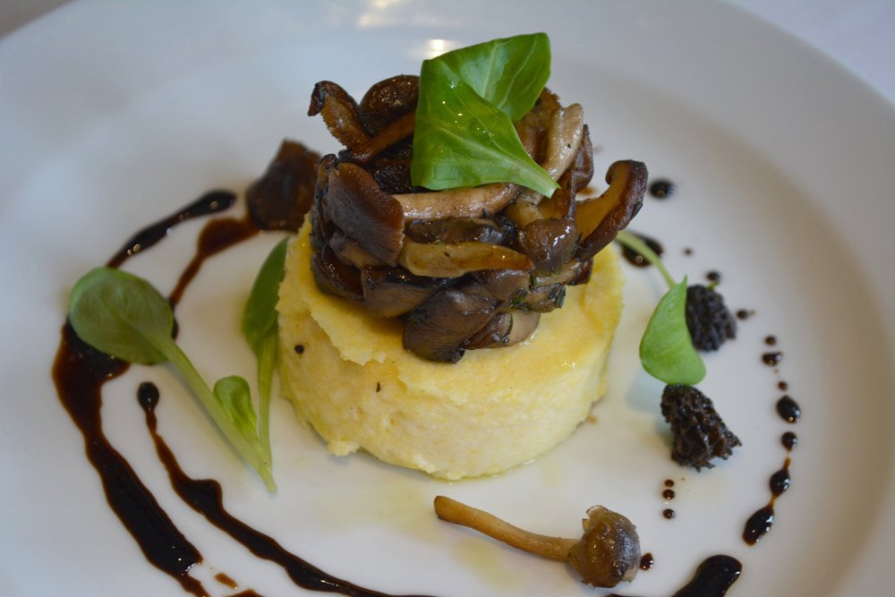 The Polenta Cake ($9) with sautéed mushrooms and truffle oil.