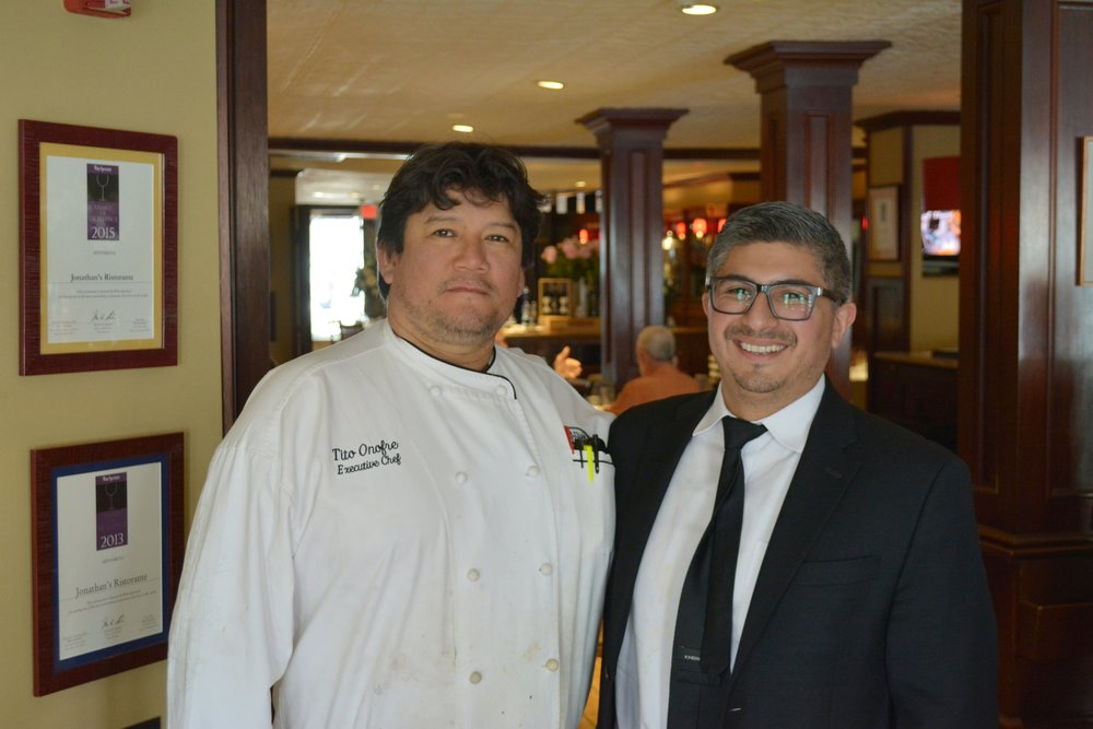 Executive chef Tito Onofre and manager Alex Vergara are making changes to the Jonathan's menu in time for the warmer spring and summer weather.  (   Long Islander News photos/Connor Beach)