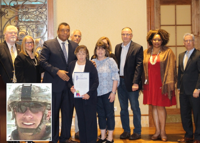 "Gold Star families honored at Leg. William ""Doc"" Spencer's annual Veteran's Appreciation Breakfast this week included that of Sgt. Anthony Mangano, of Grenlawn (inset photo). From left are: Director of Suffolk County Veterans Service Agency Tom Ronayne, Legislator Susan Berland, Legislator Spencer, Huntington Highway Superintendent Kevin Orelli, Mangano's mother Constance, June Mangano, Legislator Robert Trotta, Huntington Tax Receiver Jillian Guthman, and Legislator Steven Flotteran.   (Photos/Office of Legis. William Spencer)"