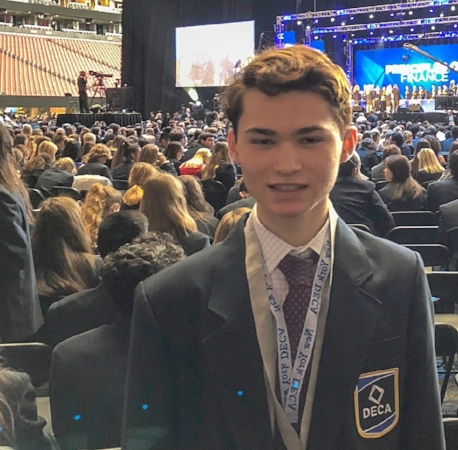 Half Hollow Hills High School East sophomore William Banai is pictured in Atlanta, where he competed against students from all over the world at the 2018 DECA International Career Development Conference.